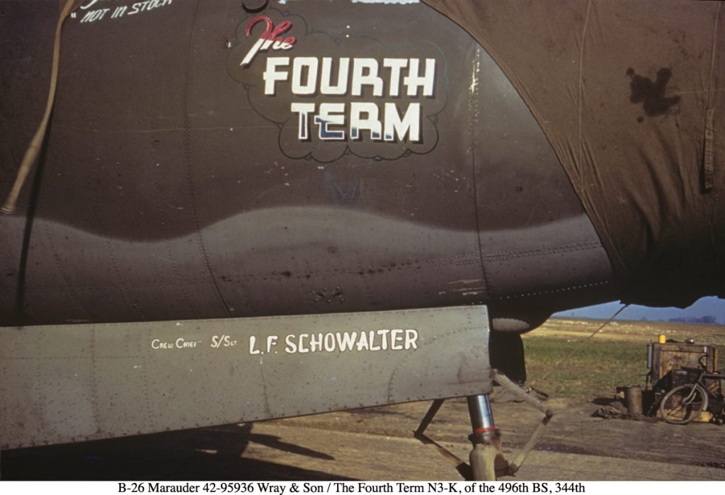 B-26 Marauder 42-95936 Wray & Son / The Fourth Term N3-K, of the 496th BS, 344th