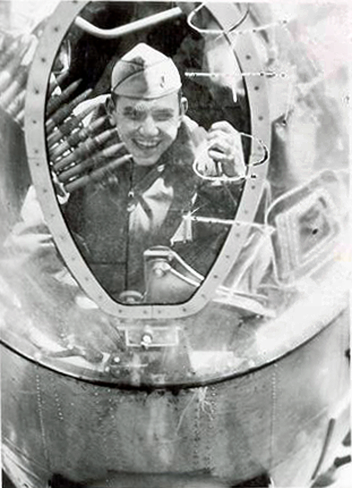 George W. Crittenden in the nose of a B-26