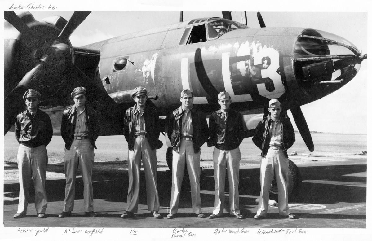 "left to right: Edwin C. Aikens, pilot; John P. Ahlers, co-pilot; George W. Crittenden, bombardier (my dad); Robert F. Burton, turret gunner;  ""Bates- waist gunner""; ""Blanchard-tail gunner""."