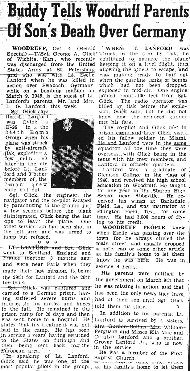 1st Lt. Lewis Ezell Lanford Article