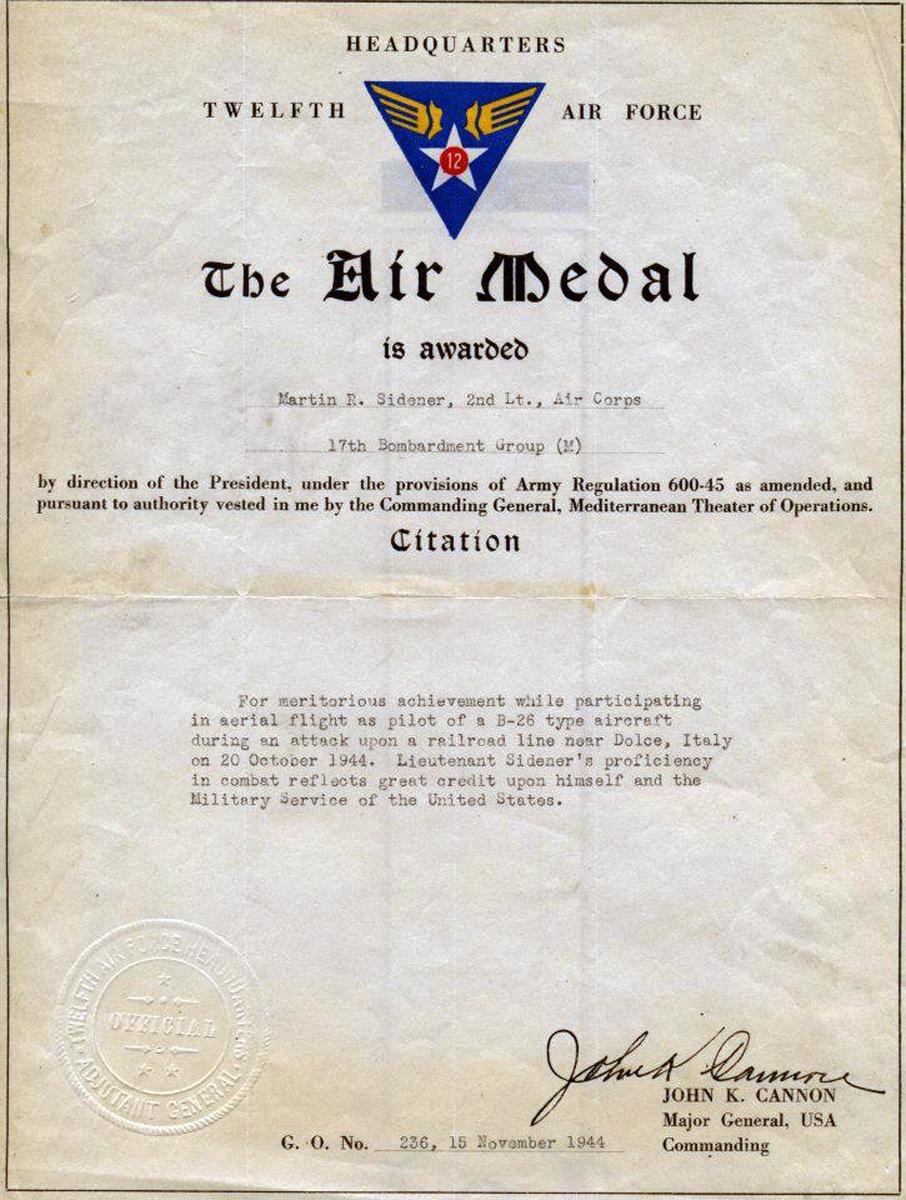 Sidener Air Medal Citation