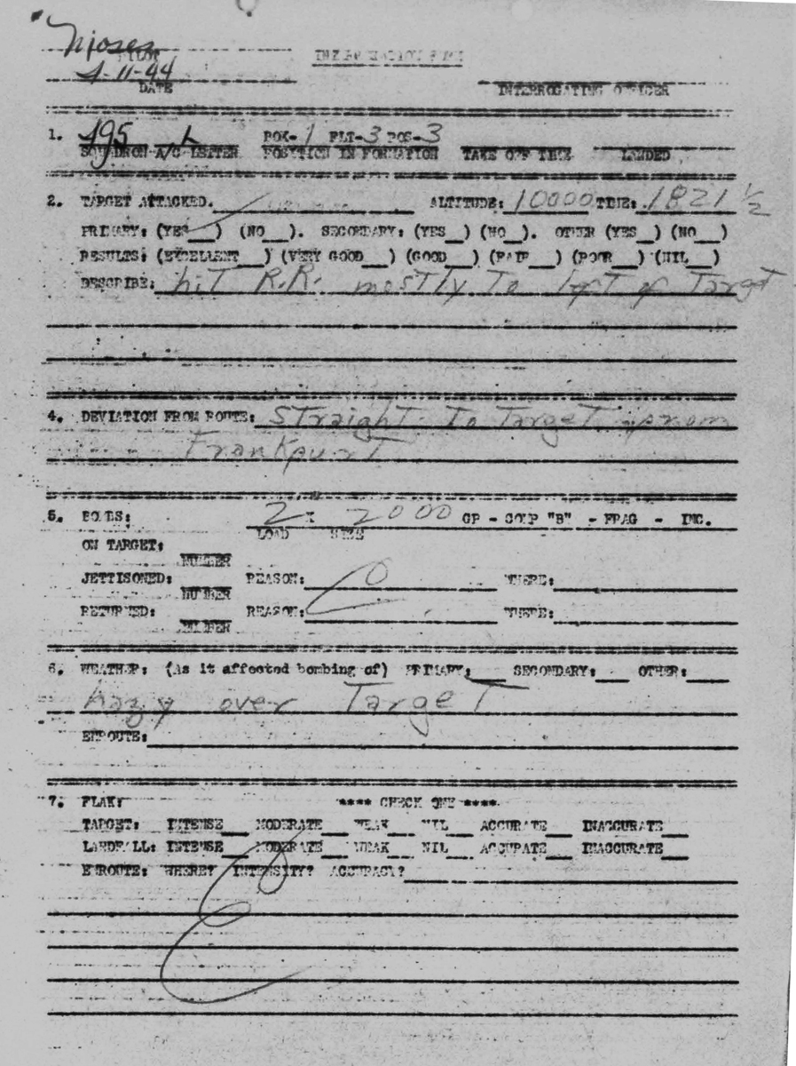 April 11, 1945 Pilot Moses debrief page 1