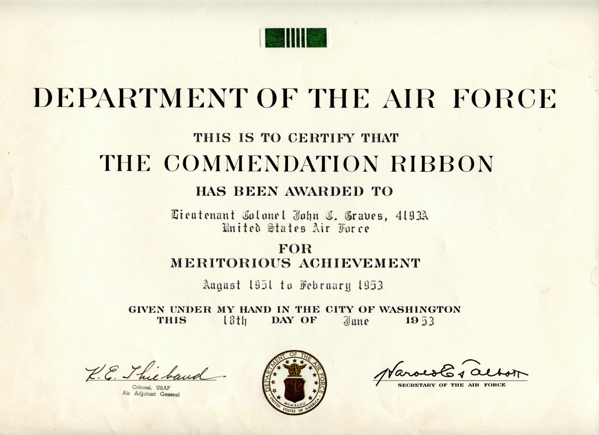 JCG Commendation Ribbon certificate