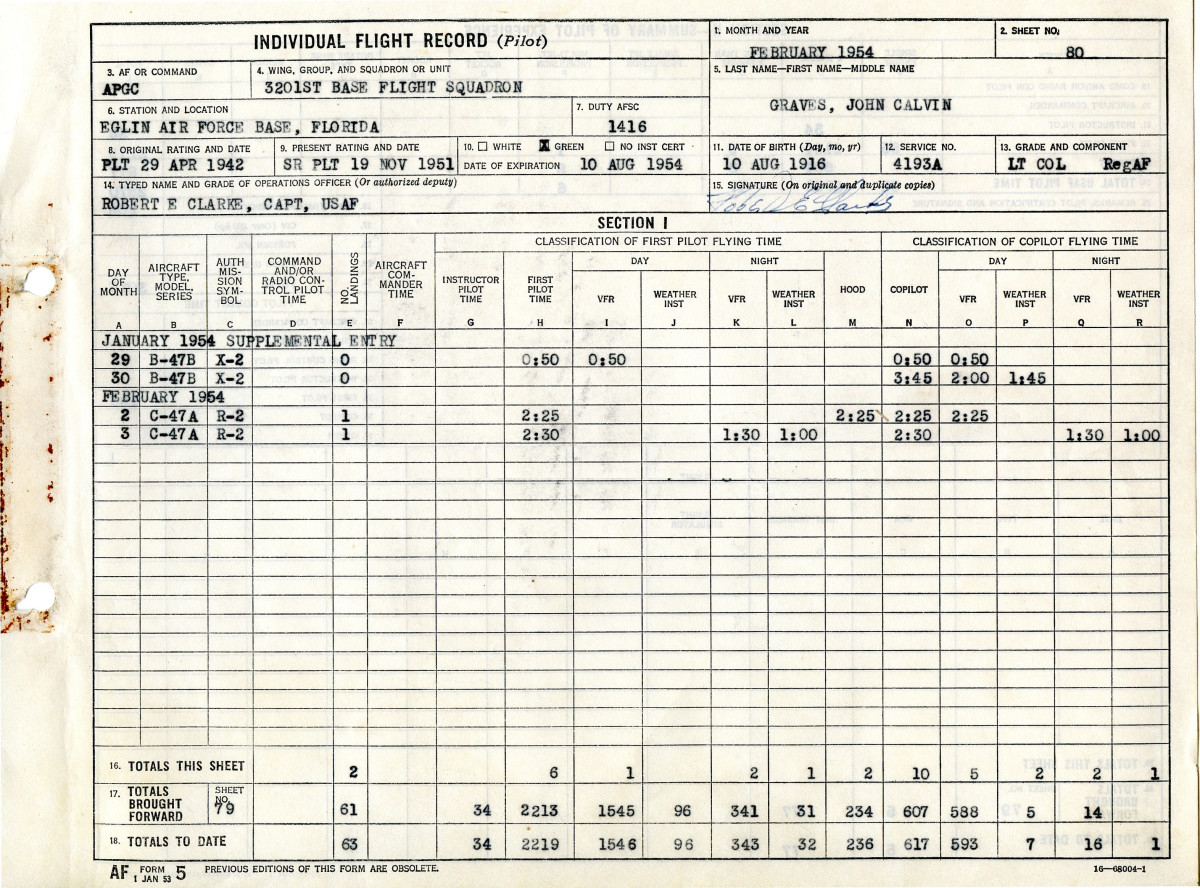 John C Graves B-47B Stratojet flight log