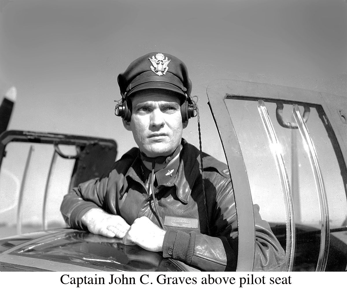 John C Graves Captain above pilot seat