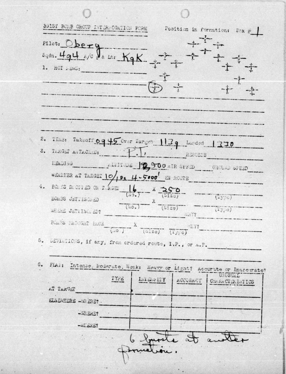 Feb 6, 1944 Interr Oberg Collision