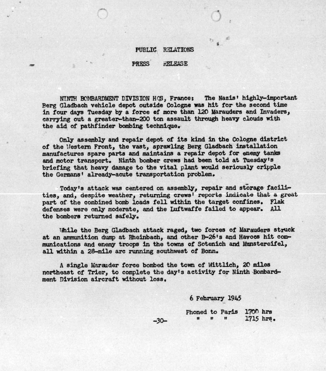 Feb 6, 1945 press release