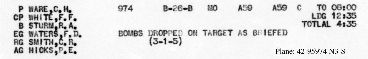 Ware March 22 1945 load list B0299 p159