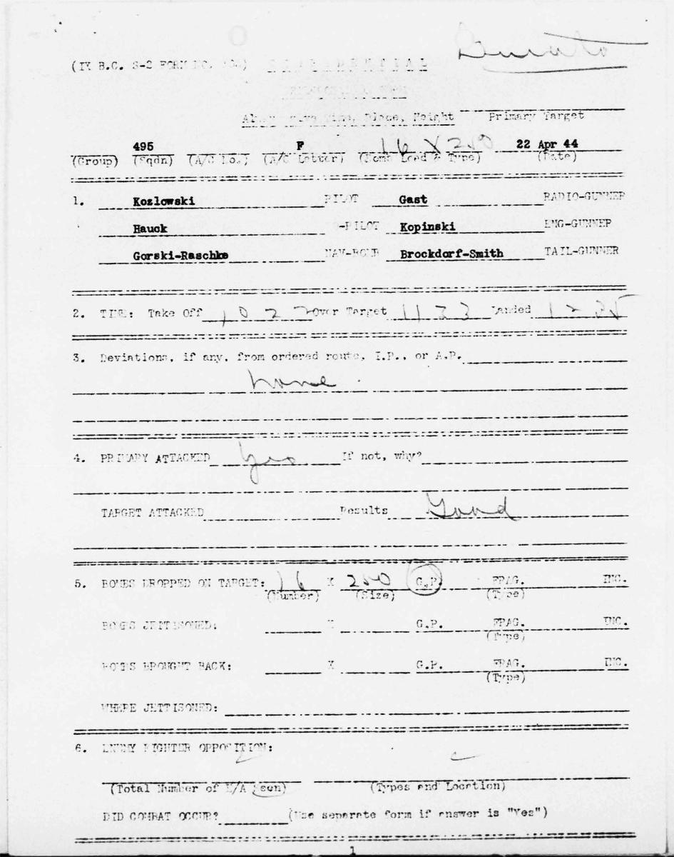 B0287 p1638 Koz debrief Aprill 22, 1944 mission 1 Brockdorf
