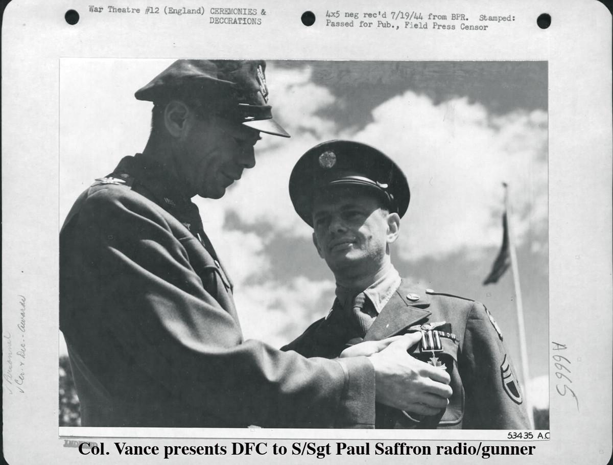 Vance DFC to S-Sgt Paul Saffron radio-gun