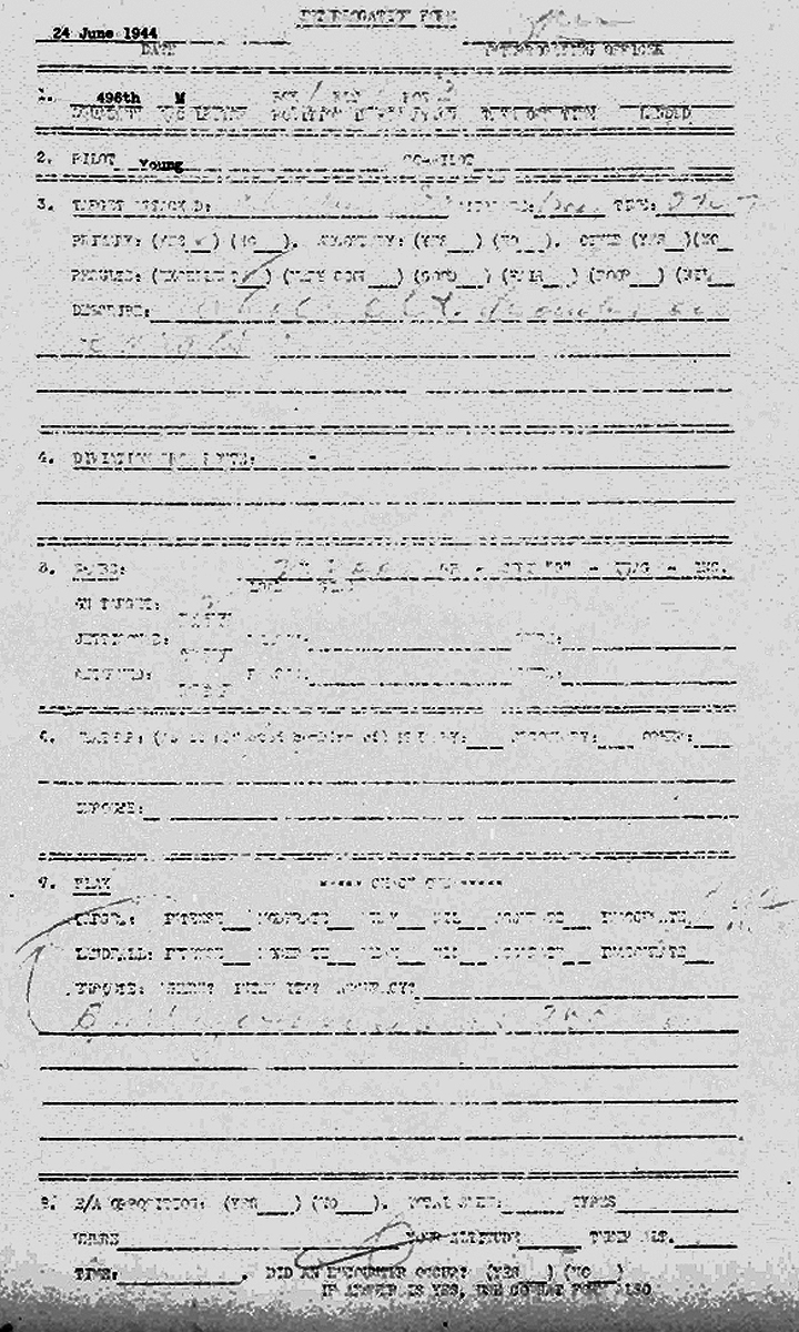 Interrogation Form filled in by Young after the June 24th mission