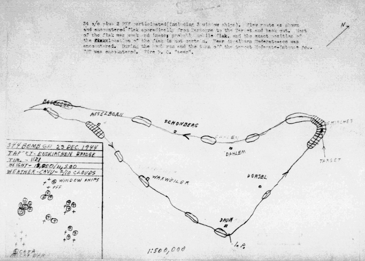 Map of flight path for Dec 23, 1944 mission.