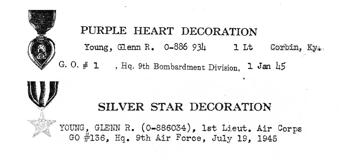 Decorations for Purple Heart and silver Star for Dec 23 mission.
