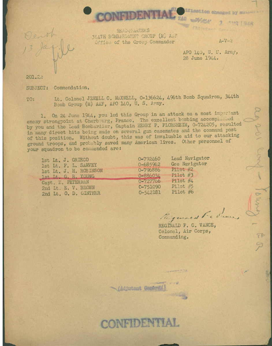 Young Commendation June 24, 1944