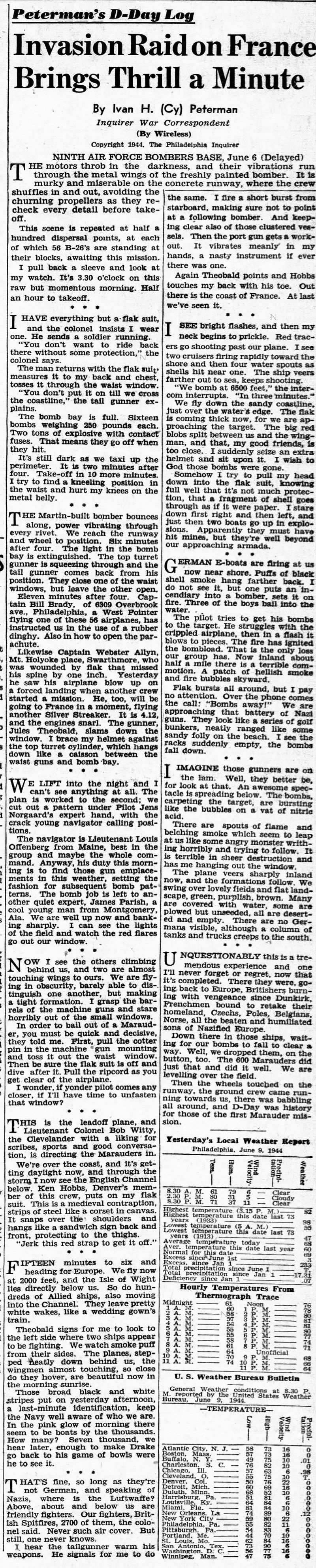 Peterman's D-Day Log news clipping