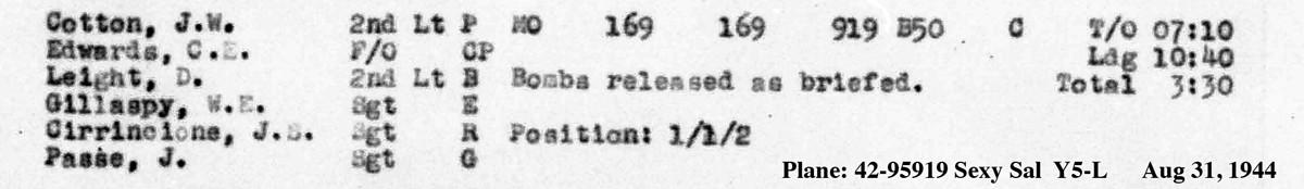 B0293 p1882 Cirrincione August 31, 1944