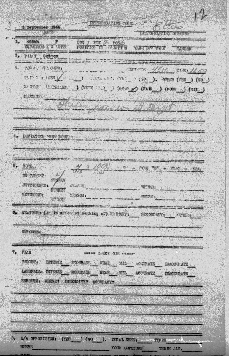 B0293A Sept 3, 1944 Debrief Cotton cirrincione