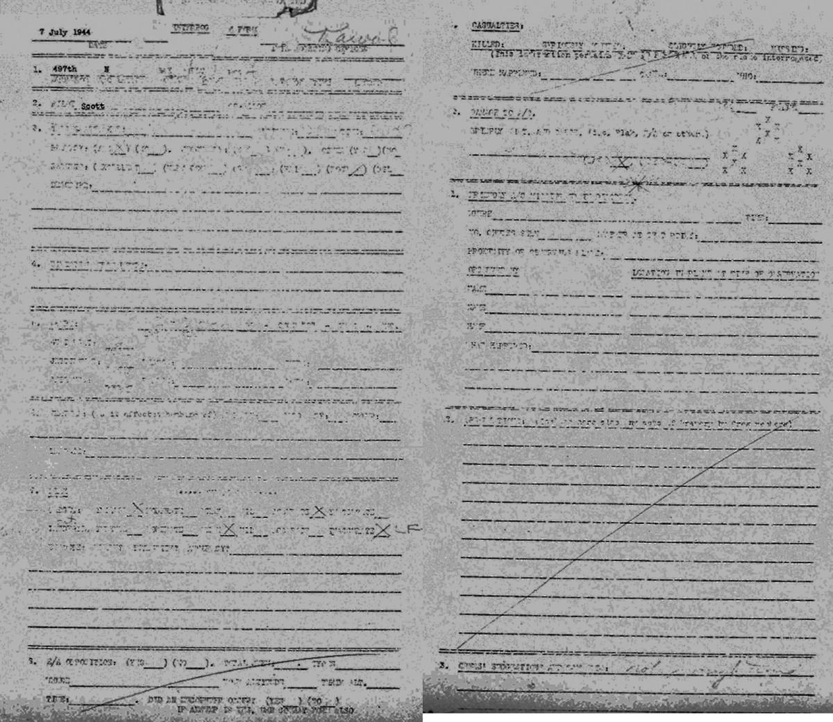 B0291 p1424 July 7, 1944 Debrief Scott