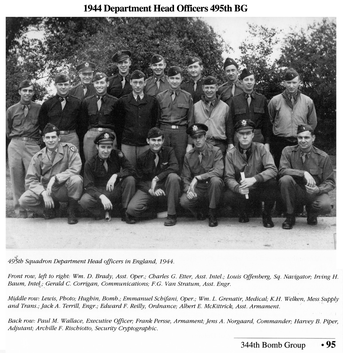 1944 Department Head Officers 495th BG