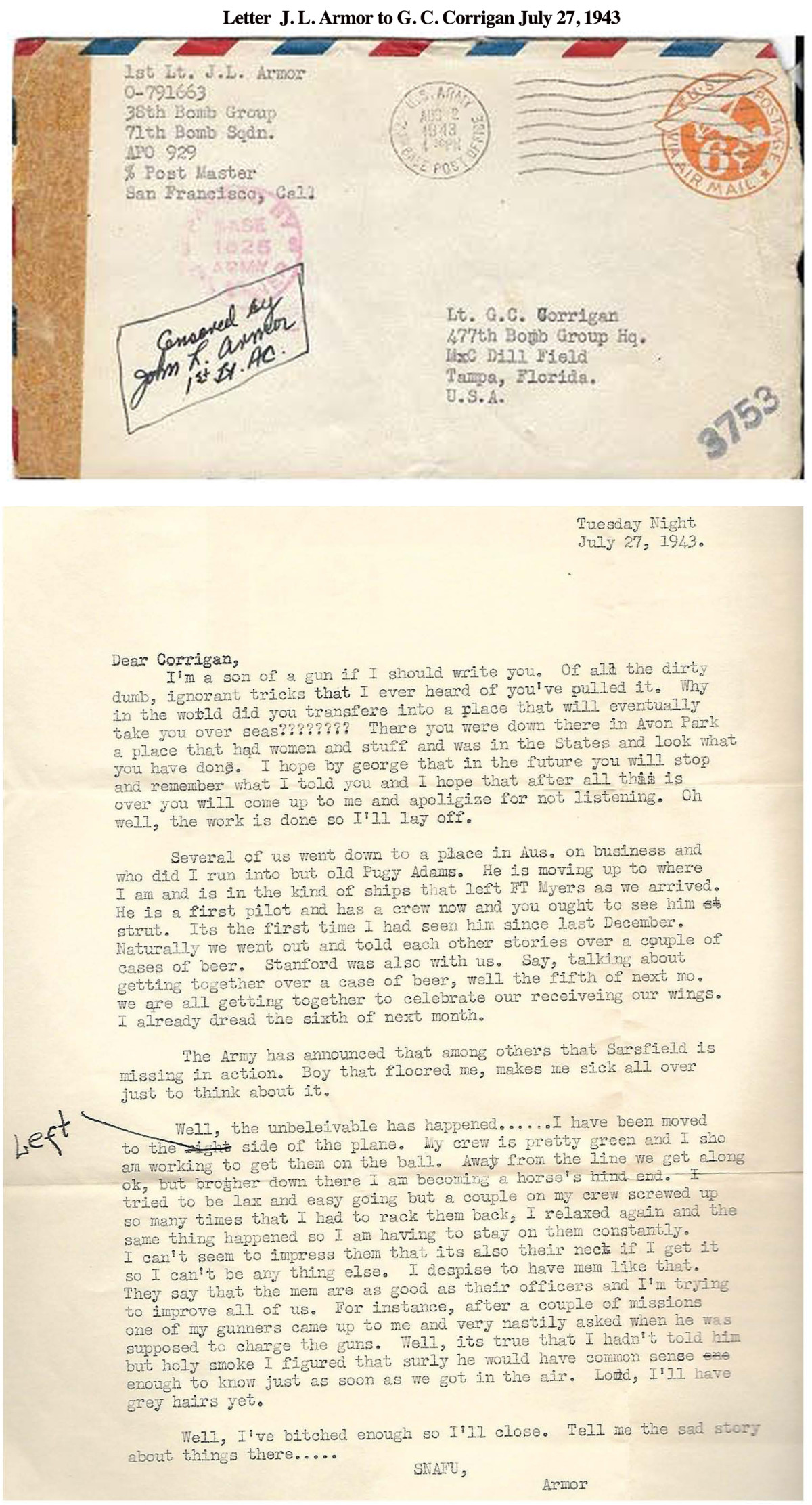 Letter Armor to Corrigan July 27, 1943
