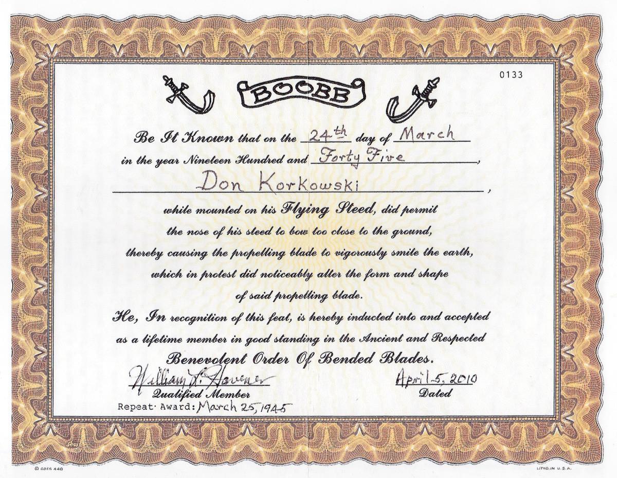 Corky BOOBB certificate