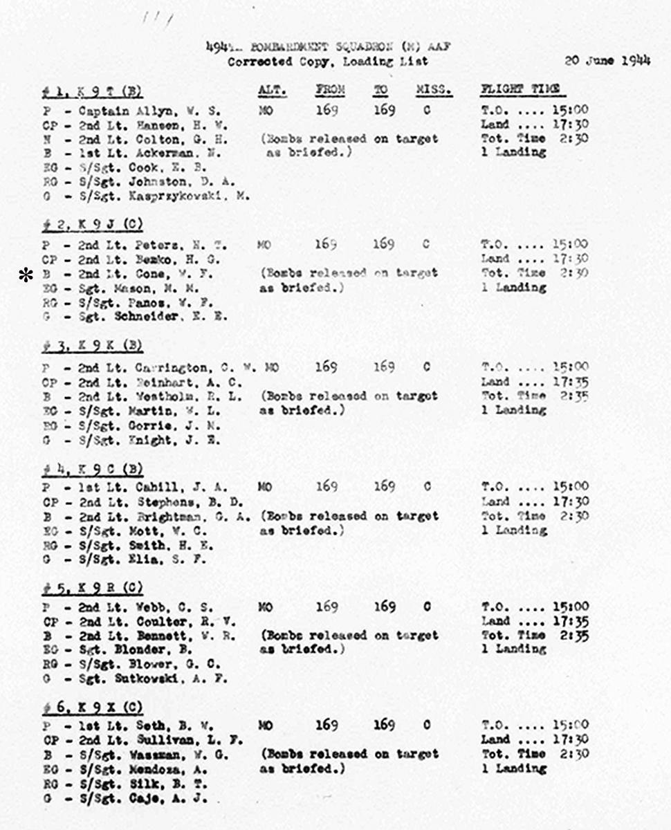 B0291 p234 June 20, 1944 LL Peters-Cone
