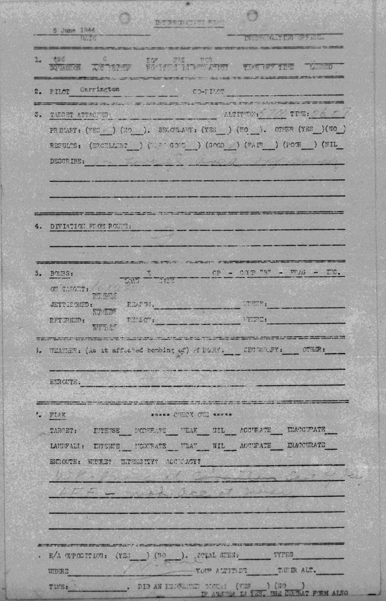 B0290 p756 Debrief June 6, 1944 D-Day mission 1 Carrington-Martin