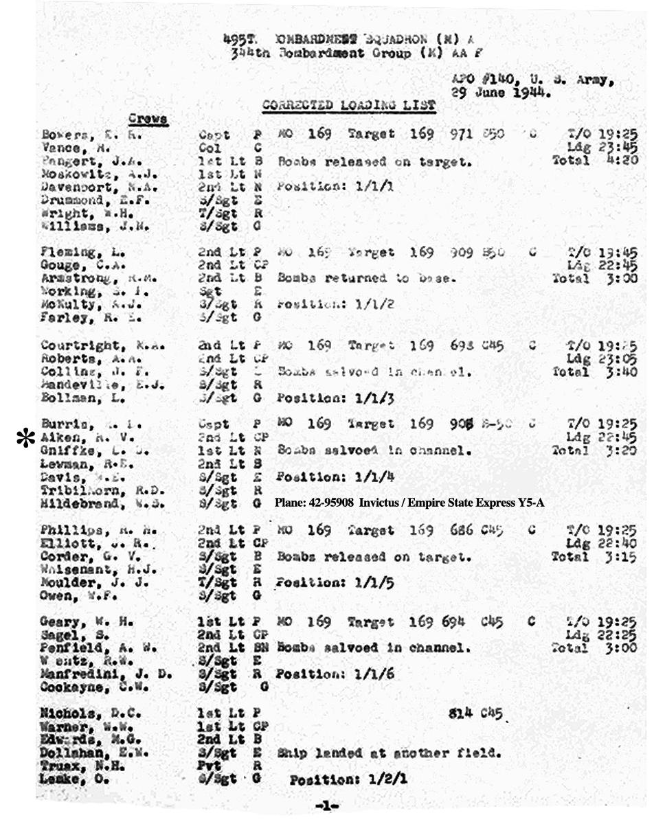 B0291 p969 June 29, 1944 LL Burris Aiken