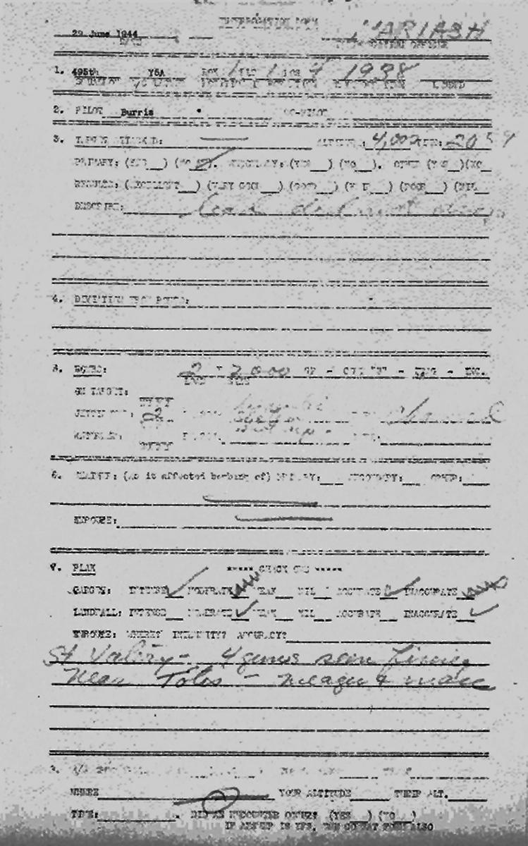 B0291 p999 June 29, 1944 Debrief Burris-Aiken p1